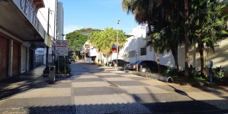 Centro de Franca, na primeira semana de lockdown, em maio. Foto: Renato Viana Albarral/F3 Notícias Whatsapp